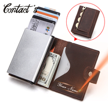 الاتصال الرجال حافظة بطاقات الأعمال حامل بطاقة الهوية s مجنون الحصان جلد الرجال محافظ تتفاعل الائتمان حامل بطاقة صندوق من الألومنيوم تخصيص
