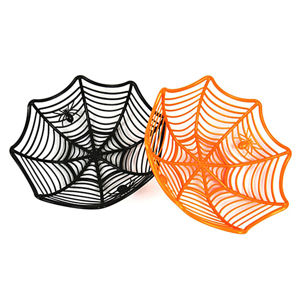 US $11.17 31% OFF|3Pcs Halloween Spider Web Candy Basket Spiderweb Black Orange Candy Bowl Plastic Candy Box Party Supplies in Storage Baskets from