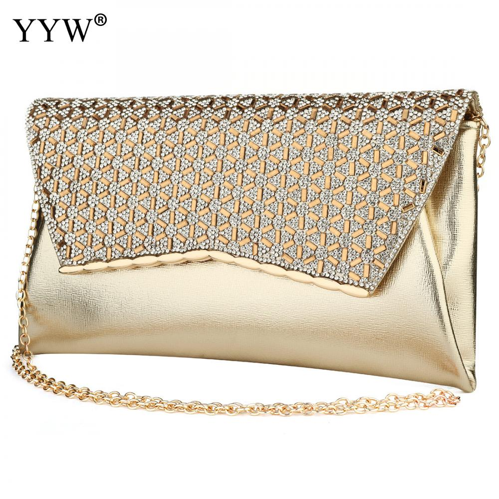 Image 3 - YYW Gold Clutch Bag Rhinestone Diamond Evening Purse With Chain Crossbody Bags Female Designer Luxury Party Clutches 2019 SacClutches   -
