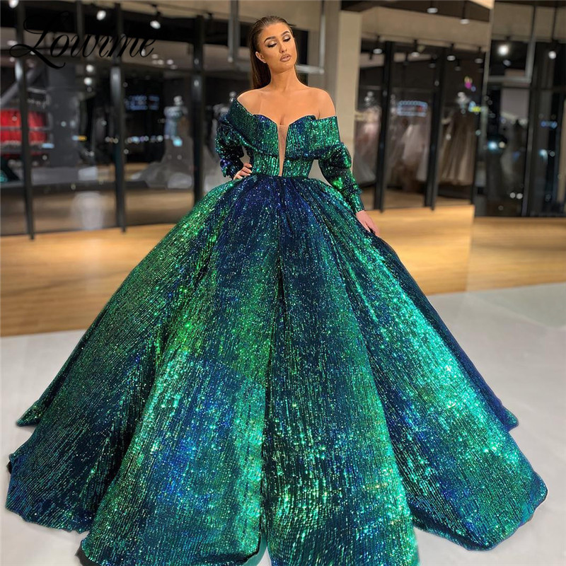 Luxury Arabic Evening Dress 2019 Green Sequin Ball Gown Prom Dresses Turkish Robe De Soiree Celebrity Party Dress AbendkleiderEvening Dresses   -