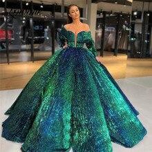 Luxus Arabisch Abendkleid 2019 Grün Pailletten Ballkleid Prom Kleider Türkische Robe De Soiree Promi Party Kleid Abendkleider