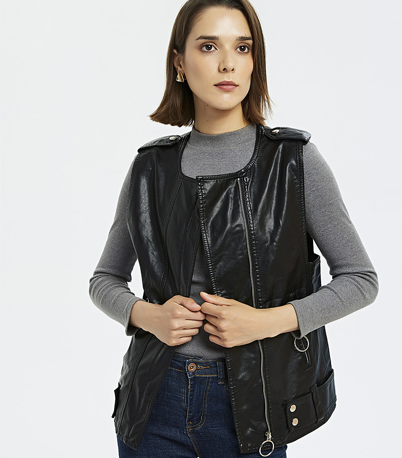 autumn period and the new women's 2019 locomotive washed PU   leather   collar circle long vest in the zipper