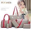 Женская сумка  6 комплектов  модные женские кошельки и сумки из искусственной кожи  роскошные винтажные сумки через плечо  известный бренд  д...