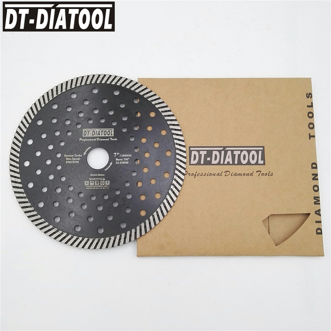 DT-DIATOOL 2pcs Dia 180mm/7inch Diamond Hot Pressed Narrow Diamond Turbo Blades Cutting Disc For Granite Marble Saw Blades