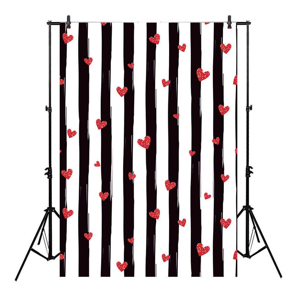 Czerwone serca walentynki zdjęcie tło nowonarodzone urodziny dziecka tło imprezowe dla Photo Studio białe czarne paski Photocall