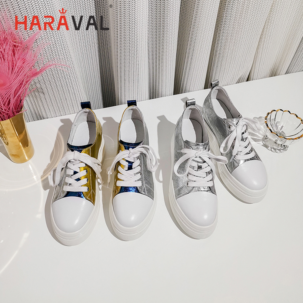 HARAVAL spring and autumn new fashion small white shoes round head cross straps platform shoes England wild casual shoes N107 in Women 39 s Vulcanize Shoes from Shoes