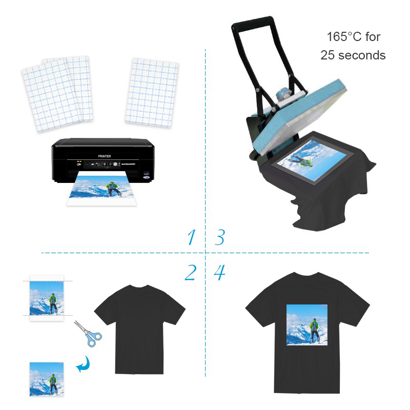 A4 10 sheets T-Shirt Transfer Photo Paper Inkjet for Dark or Light Color Fabric Cotton Garment