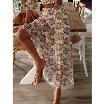 Женское свободное платье, повседневное пляжное Длинное свободное платье с v-образным вырезом и принтом, для отдыха, на лето и весну 3