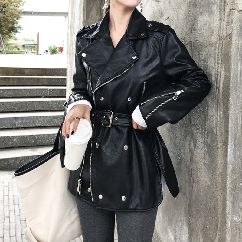 [EAM] Loose Fit Black Pu Leather Bandage Split ZipperJacket New Lapel Long Sleeve Women Coat Fashion Tide Spring 2020 1S708 2