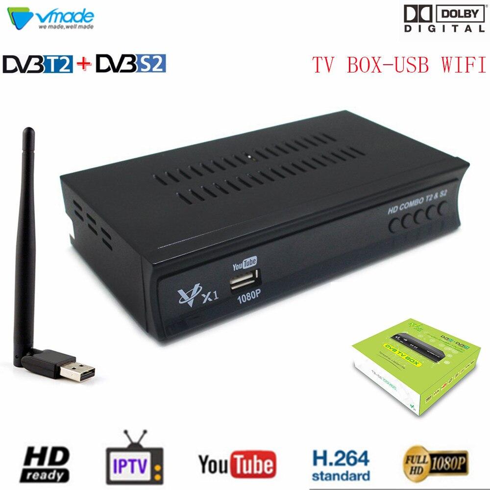 HD 1080P récepteur Satellite terrestre numérique Tuner TV avec USB WiFi DVB-T2/S2 Combo prise en charge Dolby PVR Youtube décodeur