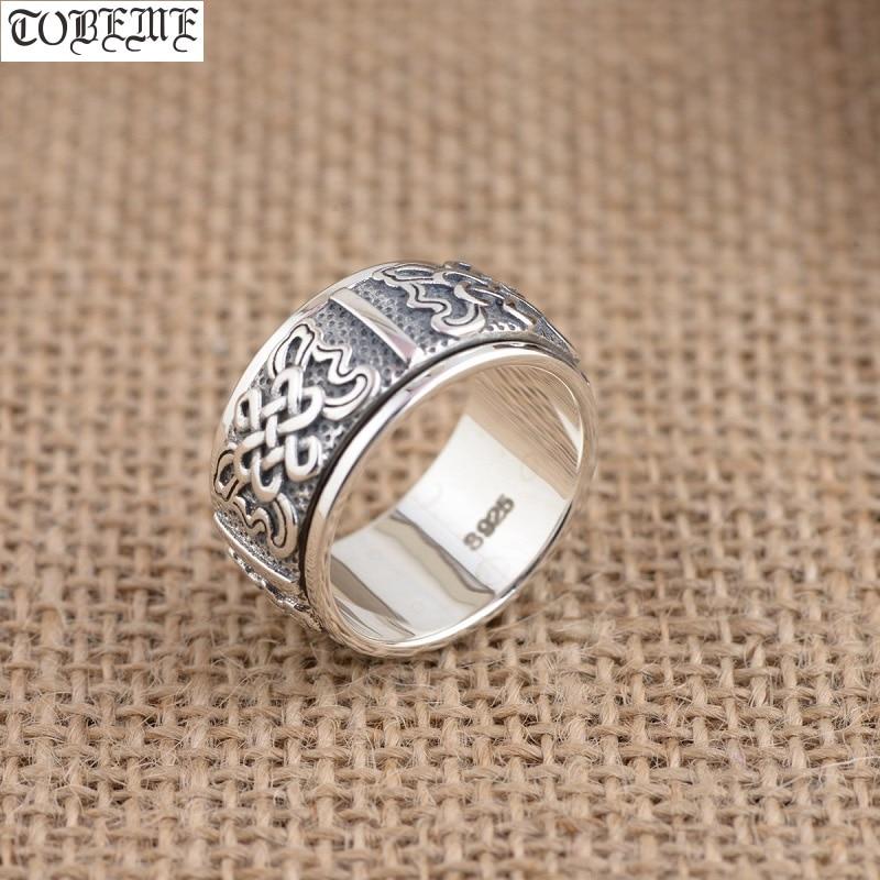 Fait à la main 100% 925 argent tibétain sans fin noeud anneau de rotation 925 en argent Sterling bouddhiste symbole anneau bonne chance tournant anneau