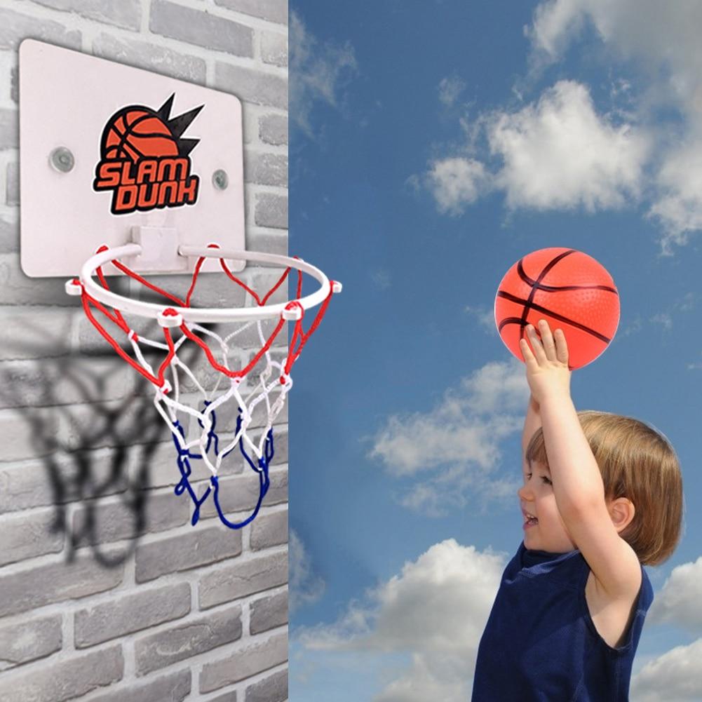 One Set Mini Basketball Backboard Hoop Netball Board Box Set Kids Indoor Ball Game Sports Basketball Hoop Mesh Net High Quality
