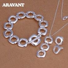 Ювелирные наборы из серебра 925 пробы квадратные ожерелья браслет