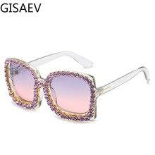 GISAEV Driving Glasses Woman Oversized Frame Color Diamond Transparent Gradient Lens Sunglasses Retro Rhinestone Fashion Glasses cut out lens oversized metal square sunglasses