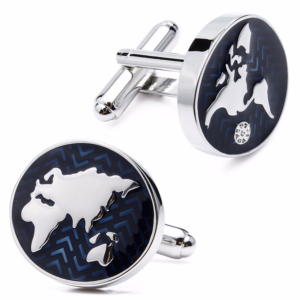 World Map Cuff Links For Men Globe Design Quality Brass Material Blue Color Cufflinks Wholesale&retail