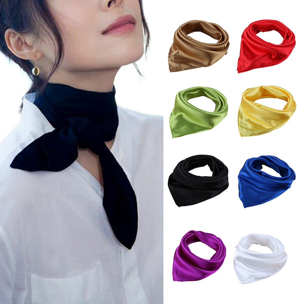 Womens Candy Colors Solid Silk-Satin Kerchief Small Square Neck Scarves 60cm Fashion Soft Lady Accessories Mini Scarf