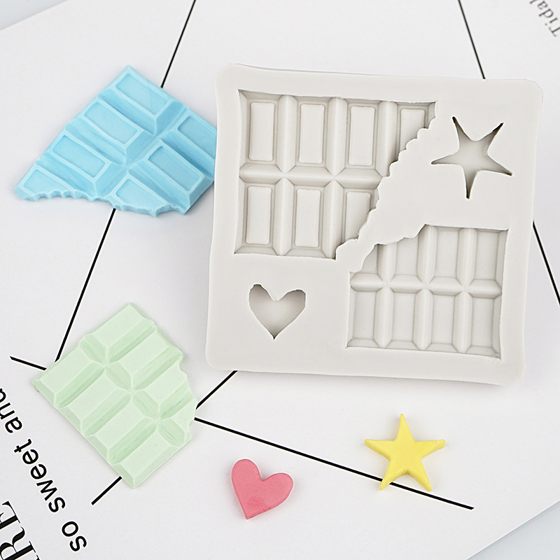 Break Chocolate Brick Star HeartFondant Silicone Moulds for Cake Decorating Mould Sugarcraft Chocolate kitchen Pastry Tool in Cake Molds from Home Garden