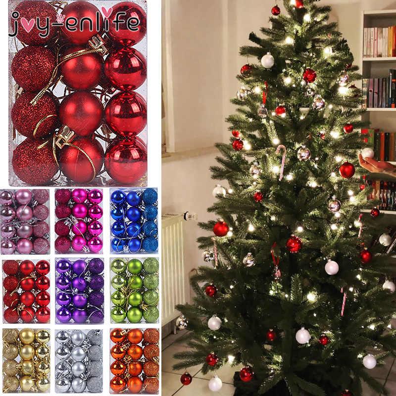 24 Pcs 30 Mm Natal Pohon Dekorasi Bola Pernak-pernik Pesta Natal Bola Gantung Dekorasi untuk Rumah Natal Dekorasi Hadiah
