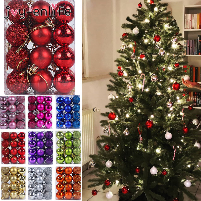 24pcs 30mm Christmas Tree Decor Ball Bauble Xmas Party Hanging Ball Ornament Decorations For Home Christmas Decorations Gift