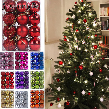 24pcs 30mm Christmas Tree Decor Ball Bauble Xmas Party Hanging Ball Ornament Decorations for Home Christmas Decorations Gift christmas tree decoration ball metal decoration home christmas ornament decoration christmas party party hanging ball ornament
