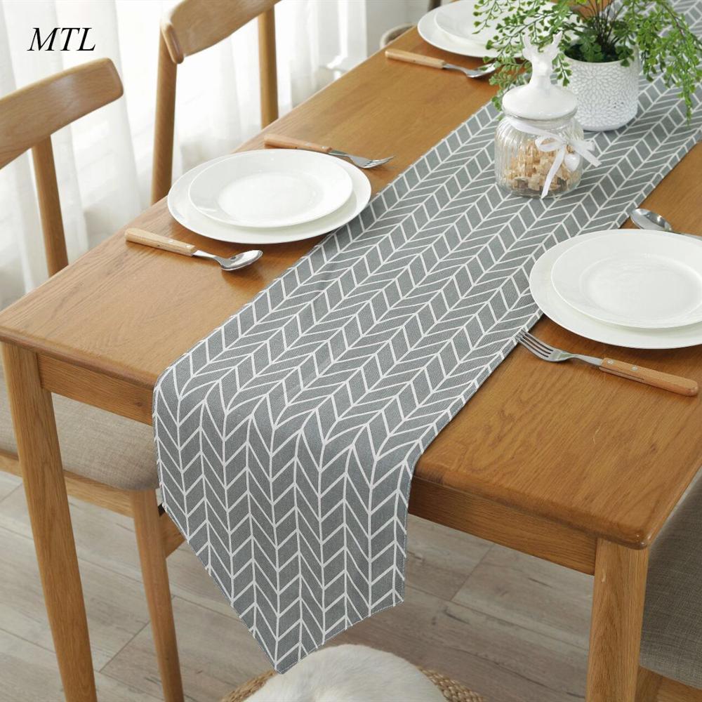 MTL Table Runner Modern Printed Geometric Linen Cotton Table Runner For Wedding Christmas Table Runner Dining Table Runner