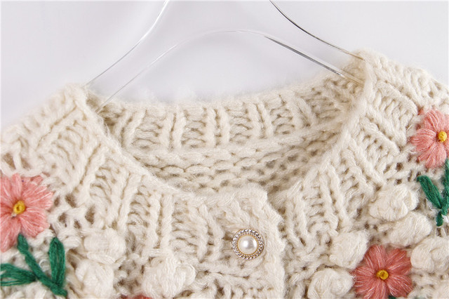 H.SA 2021 New Women Winter Handmade Sweater And Cardigans Floral Embroidery Hollow Out Chic Knit Jacket Pearl Beading Cardigans 3