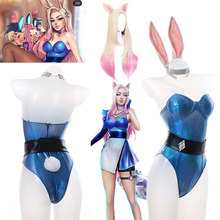 Wig Costume Anime Figure Ahri Cosplay Bunny Girl Jumpsuits Party Sexy Lol Kda New-Set