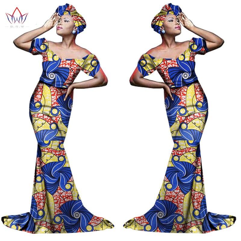 Африканский хлопчатобумажный материал Платья Для Женщин Дашики традиционная Анкара Мода Африка одежда с коротким рукавом Анкара платья WY963 - Цвет: 17