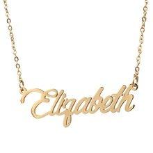 Colar de nome elizabeth personalizado aço inoxidável gargantilha feminino 18k banhado a ouro alfabeto carta pingente jóias amigos presente