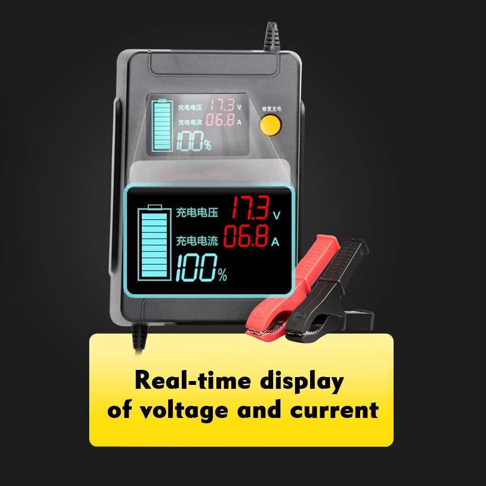 Cargador de batería de coche completamente automático de 12 V/24 V, cargadores de reparación de pulso de potencia, cargadores de batería de ácido de plomo seco mojado, pantalla LCD Digital