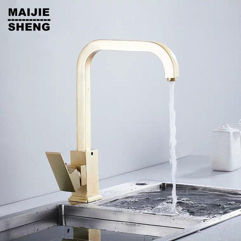 Or brosse luxe laiton robinets de cuisine eau froide et chaude évier robinet bol piscine robinet rotatif main lavage cuisine évier robinet