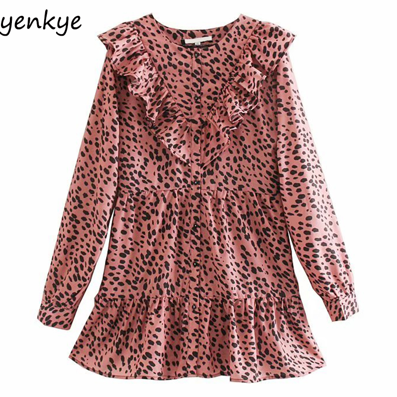 Women Vintage Animal Print Dress Long Sleeve O Neck Ruffle A-line Mini Dress Autumn Casual Vestidos OZZ9385