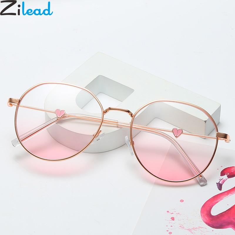 Zilead Classic Lady's Polygon Love Heart Glasses Frame Women Metal Optical Sepectacles For Female Plain Eyeglasses Eyewear