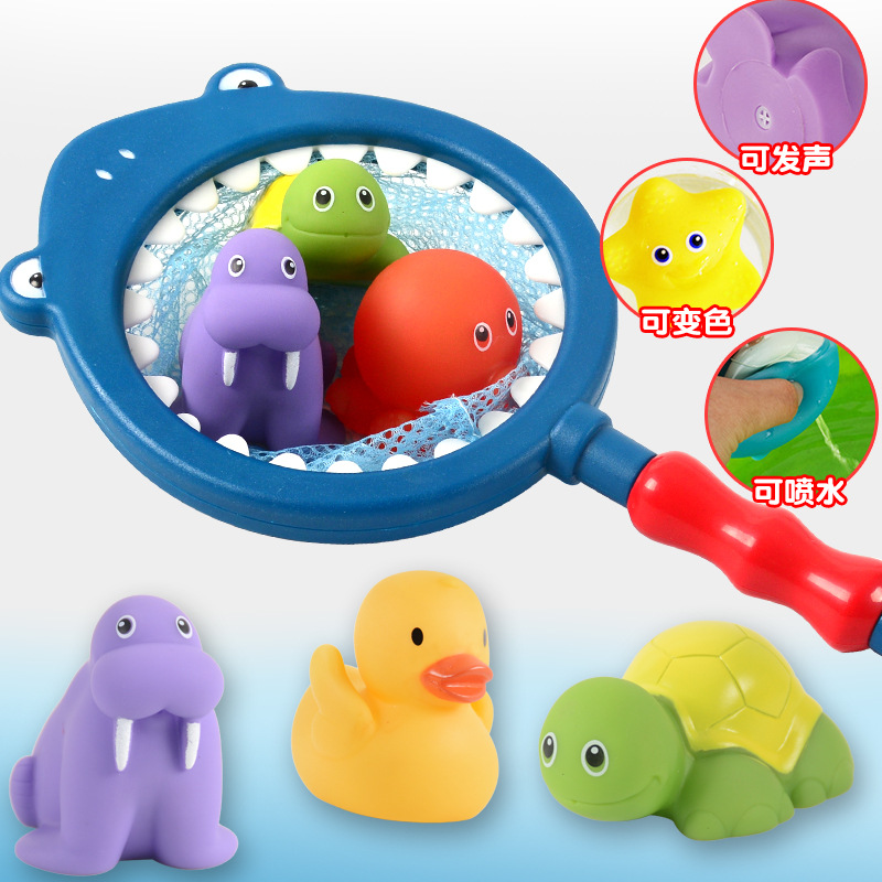 Baby Bath Toy Fishing Network Organize Rubble Duck Toy Swimming Classes Play Beach Spray Water Bathroom Children Toddlers Toys