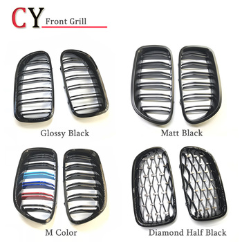 1 Pair 5 Series F10 Glossy/Matt/M-Color Black Dual Slat M5 Style Front Kidney Grille Grill For BMW F10 520i 523i 525i 530i 535i image