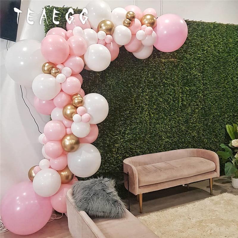 86pcs Pastel Macaron Pink White Party Decoration Balloon Garland Arch Chrome Metal Gold Ballon Decorations Backdrop Baby Shower(China)