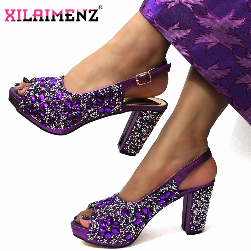 Image 3 - Mature Style in Purple Color African Women Shoeos and Bag to  Match Slingback Sandals with Shinning Crytal for Christmas PartyWomens  Pumps