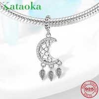 Moon 925 Sterling Silver Dangle Dream catcher pendants Beads Fit Original Pandora Charm Bracelet bangles Jewelry making