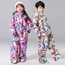 Зимний брендовый детский лыжный костюм для температуры-30 детский брендовый водонепроницаемый теплый зимний комплект для мальчиков и девочек, детская куртка для сноуборда