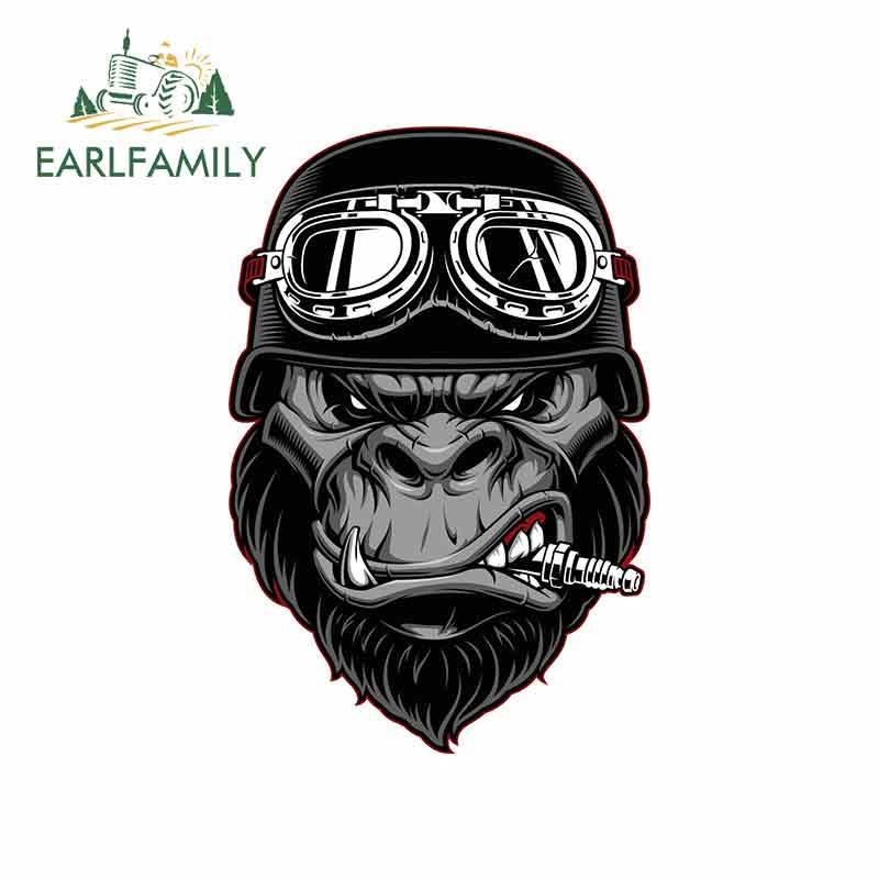 EARLFAMILY-pegatinas de dibujos animados de vinilo para casco, motocicleta, protector solar, JDM, parachoques, maletero, camión, gráficos, 13cm x 8,7 cm, para Gorilla Biker