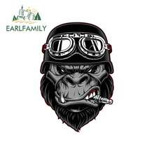 EARLFAMILY 13cm x 8.7cm for Gorilla Biker Cartoon Car Stickers Helmet Motorcycle Sunscreen Vinyl JDM Bumper Trunk Truck Graphics