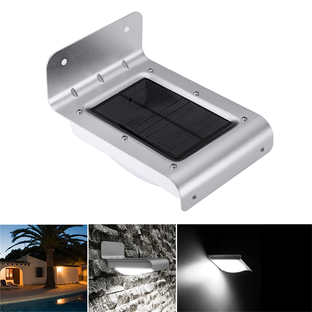 2pcs Outdoor Waterproof Solar Lamps 16 LED Curved Style Human Body Induction + Low Light + Light Control Solar Charging Lamp
