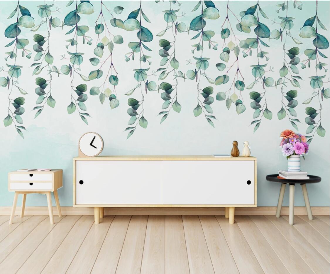 Green Leaf Wallpaper Watercolor Wall Mural Photo Cloth Paper Waterproof Nature Leaves Wall Paper Makeup Backdrop