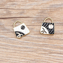 10pcs/pack Fashion Bag Enamle Charms  Metal Pendant Golden Color Earring DIY Jewelry Accessories 18x23mm
