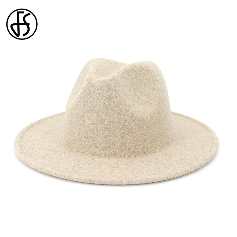 FS Beige White Wool Jazz Hat Women Men Felt Snap Brim Hats Trilby Ladies Vintage Wool Panama Fedora Cloche Cap