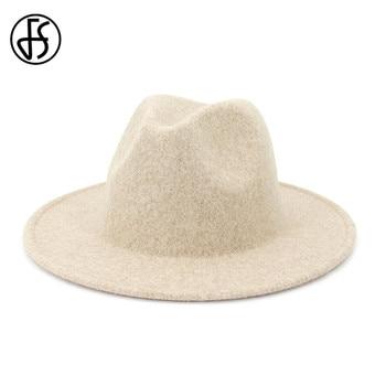 FS Beige White Wool Jazz Hat Women Men Felt Snap Brim Hats Trilby Ladies Vintage Wool Panama Fedora Cloche Cap
