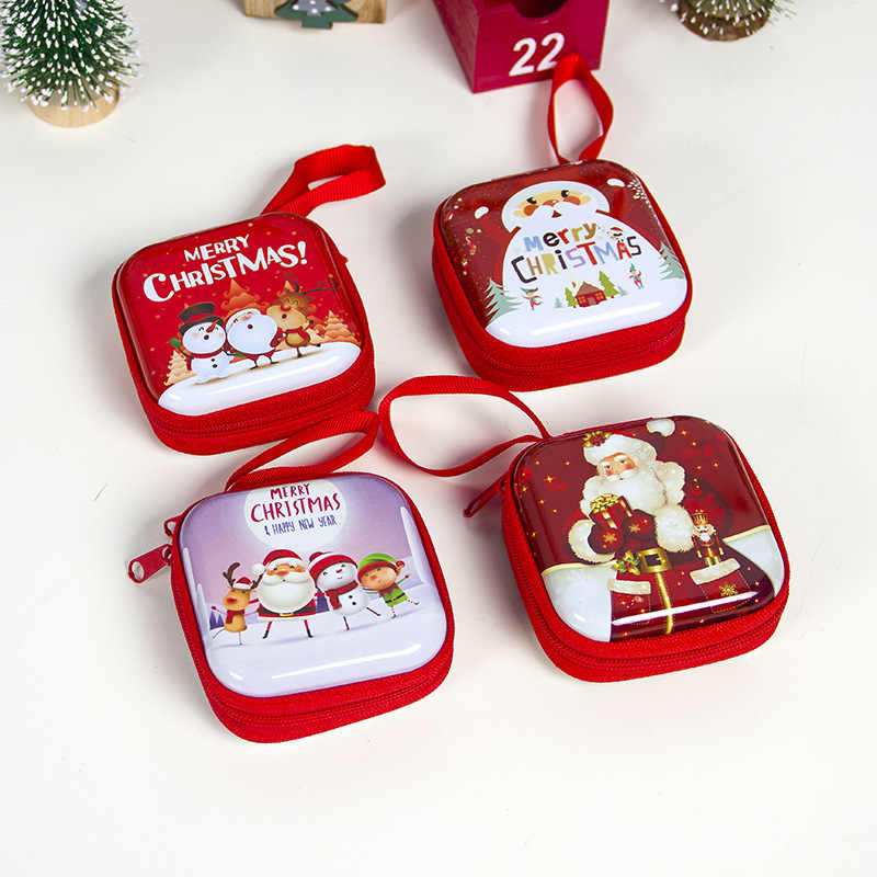 Cartoon Tinplate Christmas Gift Box Santa Snowman Elk Gift Bag Children Xmas Gift Coin Purse Key Headset Storage Bag Xmas Decors