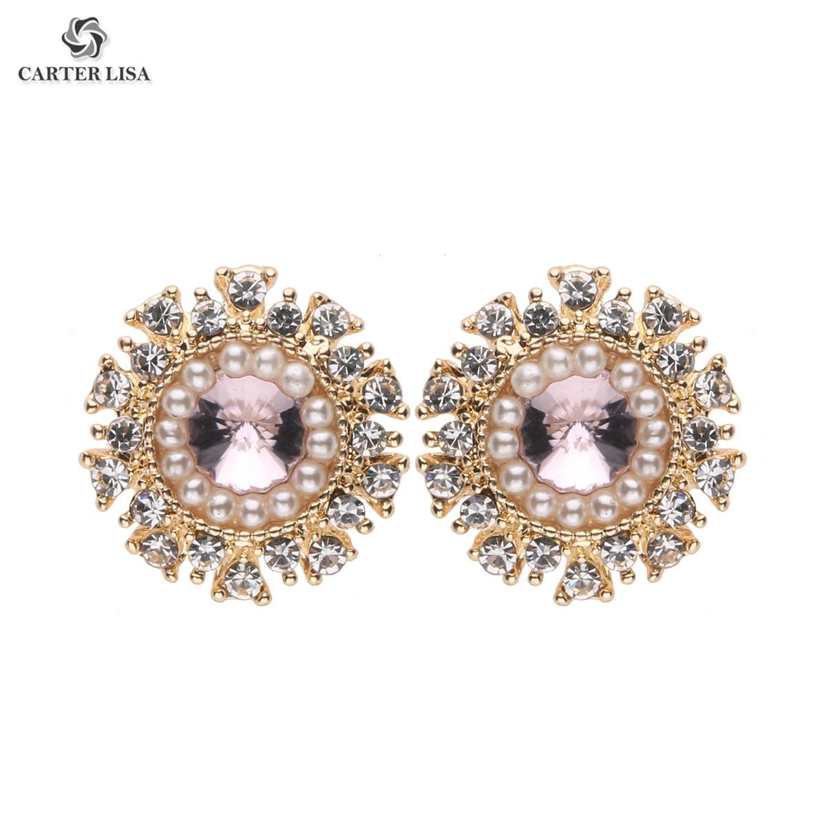 CARTER LISA Pearl Flower Crystal Earring Retro Stud Earrings Fashion Jewelry For Women Daily Wear 2019 New