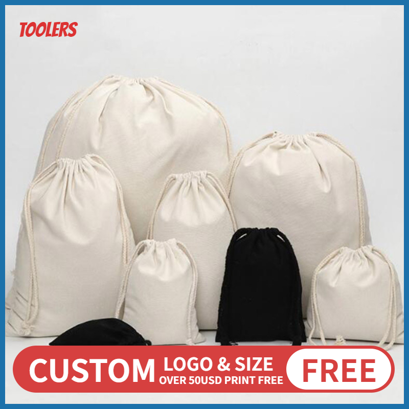 100pcs 8oz Natural Cotton Canvas Drawstring Pouch Eco Friendly Durable Draw String Storage Small Case Packaging Bags Custom Logo