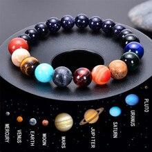Браслет из бисера с восьмью планетами, мужской браслет из натурального камня, Вселенная, Йога, чакра, солнечный браслет для мужчин, ювелирное изделие, Прямая поставка